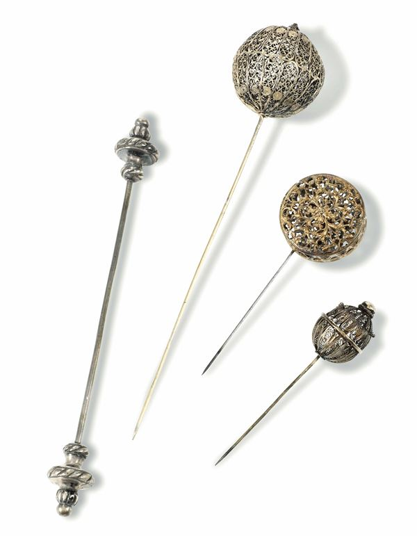 Four filigree hairpins, Italy, 17-1800s