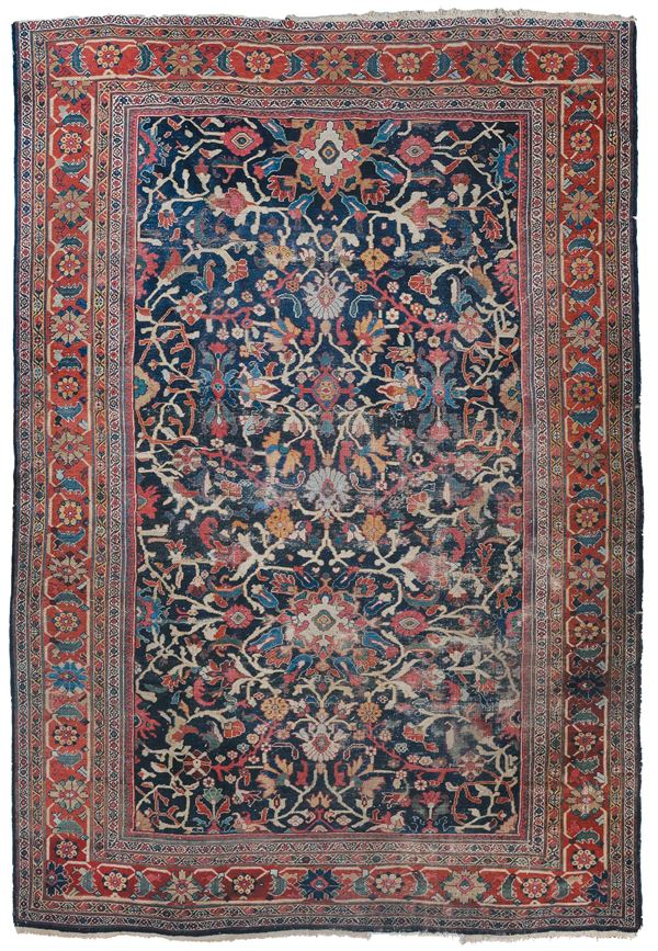 A nortuwest persia carpet, Mahal end 19th century. Extensive wear.