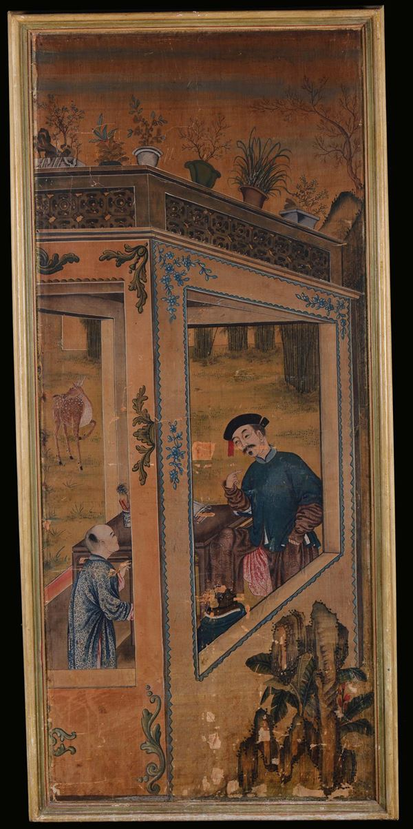 Pair of paintings representing the education of youngsters, China, 18th centuryDistemper on canvas