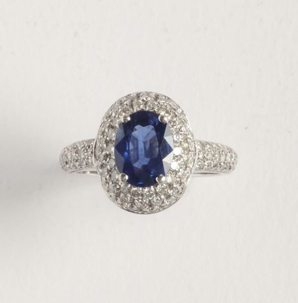 A diamond and shappire ring