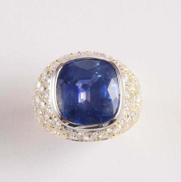 A shapphire and diamond ring. Accompanied by a report from Gübelin stating that the shappire is natural,  [..]