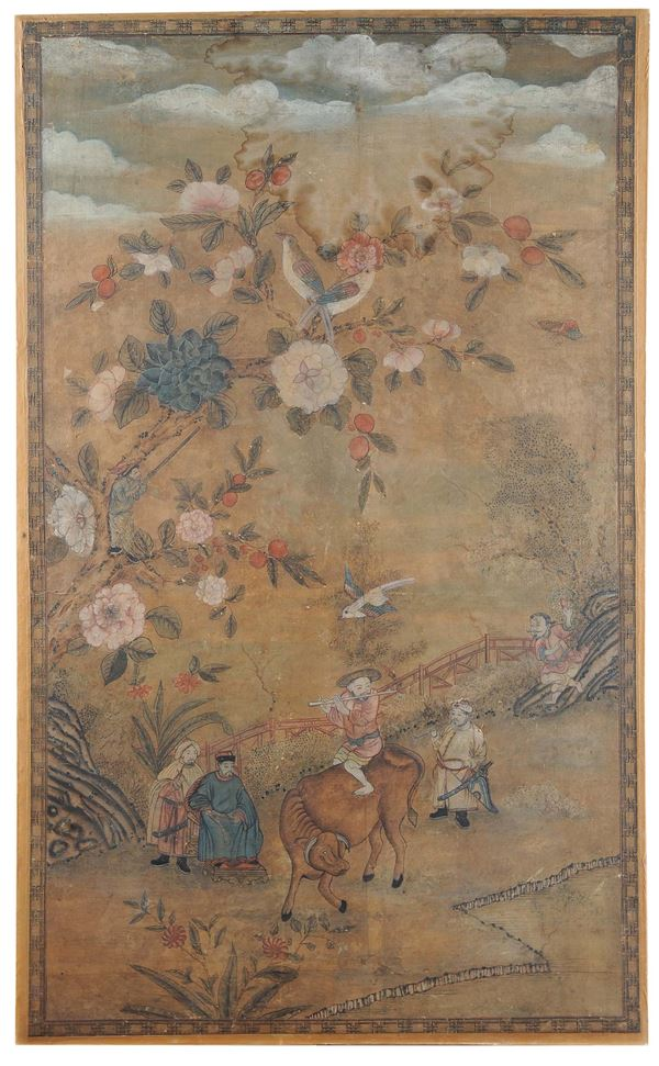 A panel painted on paper representing people ,China, Qing Dynasty,  18th century
