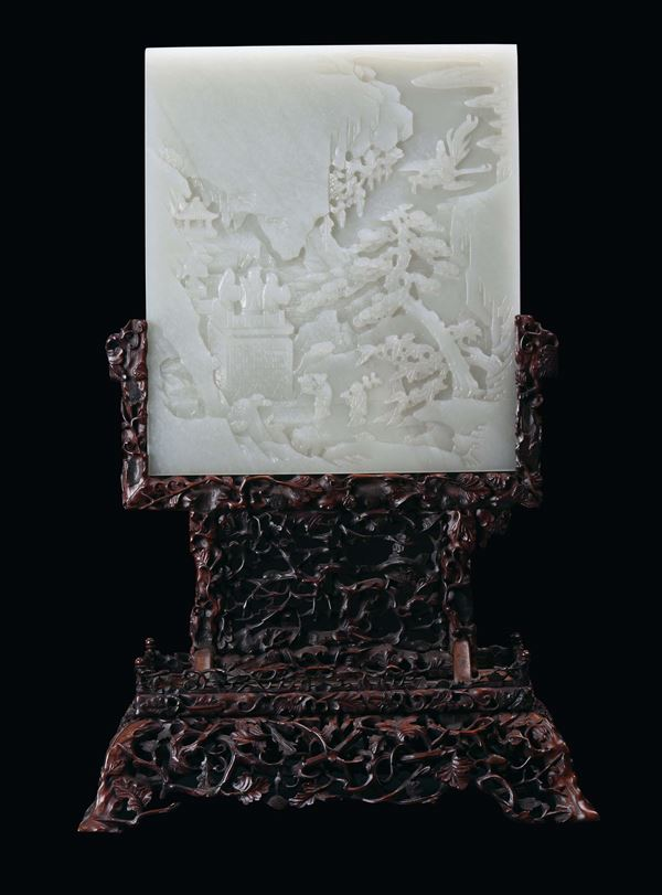 A rare white celadon jade plate with oriental landscape decoration, Qing Dynasty, Qianlong period (1736-1795)Homu  [..]