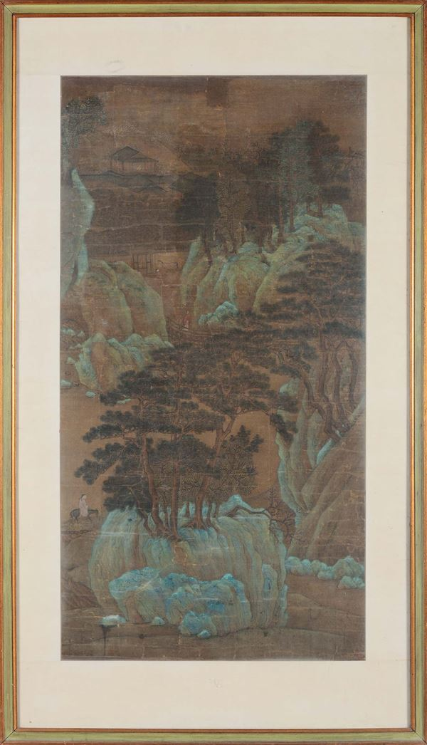 A painting representing a landscape, China, Qing Dynasty, Qianlong Period (1736-1795). Oil on silk