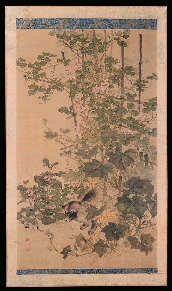 A pair of paintings representing oriental flowers, China, Qing Dynasty, 19th century. Oil on silk
