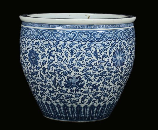 A large white and blue cachepot with vegetable decoration, China, Qing Dynasty , 19th century
