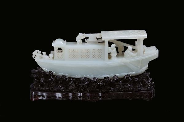 A Celadon white jade ship with people, China, Qing Dynasty, Qianlong Period ( 1736-1795)