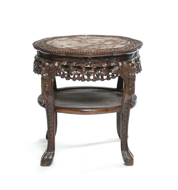 A round table with marble top, China, Qing Dynasty, 19th century