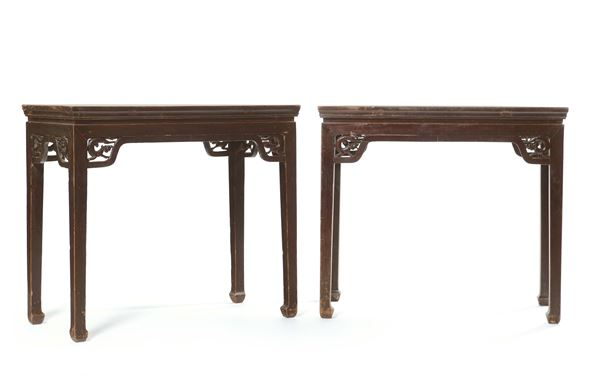 A pair of larch consoles, China, Qing Dynasty, 19th century
