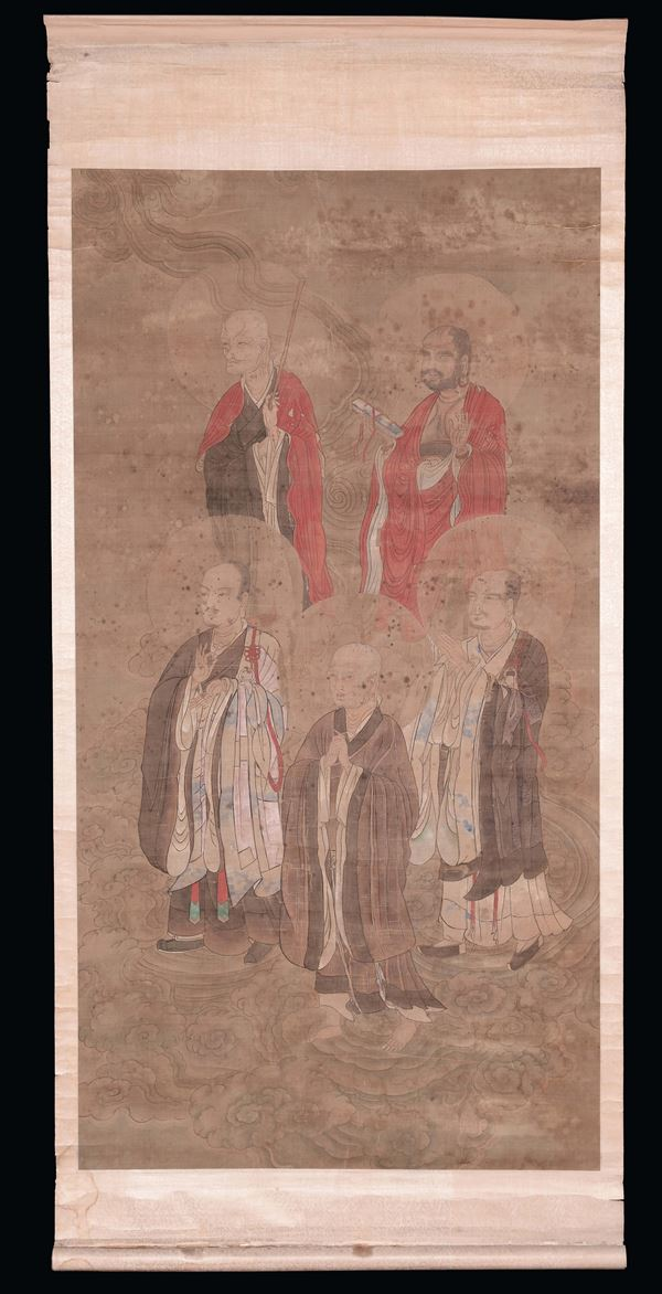A Scroll representing the five heavens of Taoism, China, Qing Dynasty, 18th century
