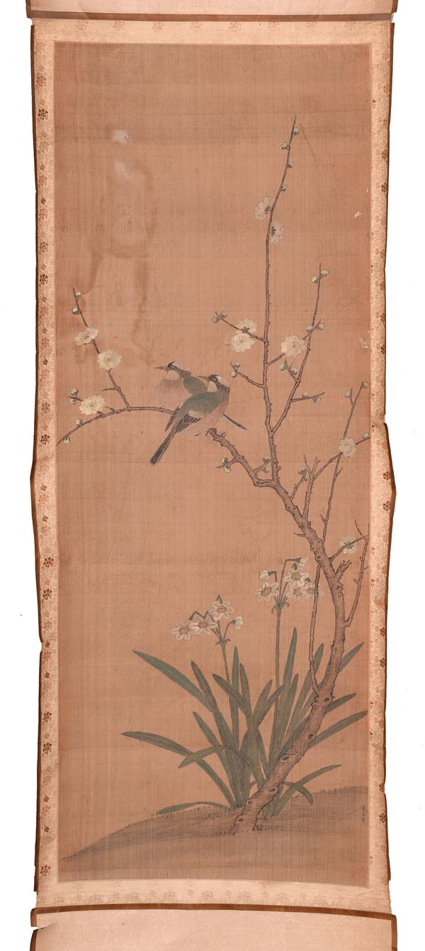 A Scroll representing naturalistic scenes, China, Qing Dynasty, 19th century. Signed on the bottom right Lai Kuan