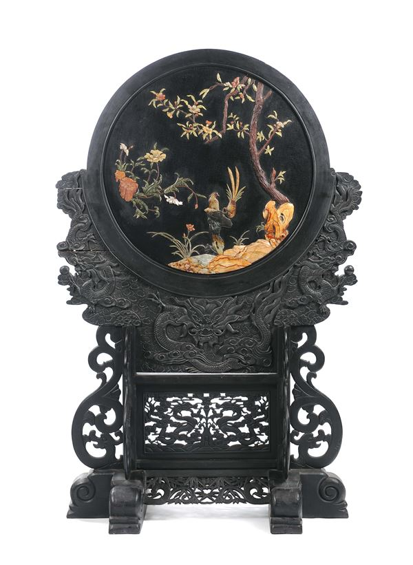 A carved wood plaque with gems insertions representing a naturalistic scene  , China, Qing Dynasty, 19th century. Carved wooden base
