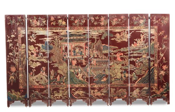 A Coromandel screen with figures an landscapes, China, Qing Dynasty, 19th century