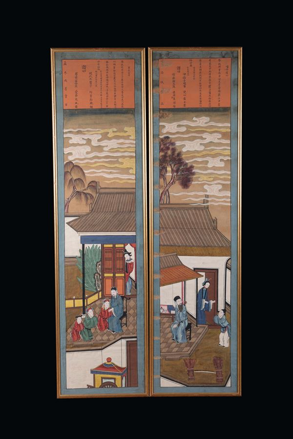 A pair of panels painted with figures with Tongxi inscriptions, China