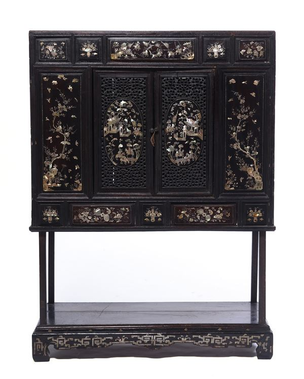 A sideboard in homu wood with mother of pearl decorations, 19th century