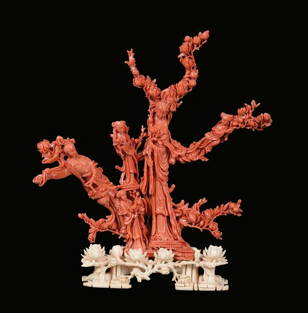 """A red coral """"Guanyin and boys"""" group, China, Qing Dynasty, late 19th century"""