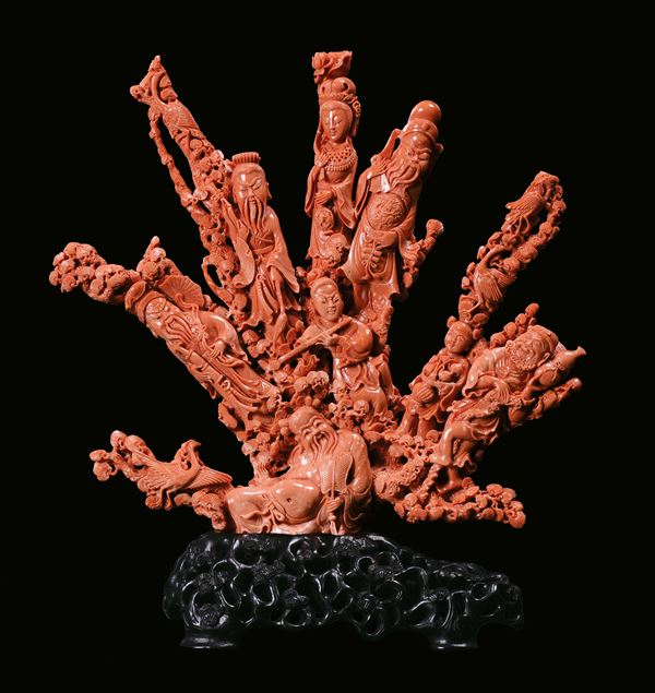 """A large coral """"characters"""" group, China, Qing Dynasty 19th century"""