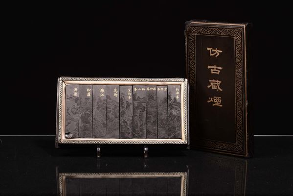 A wooden box with set of ink stones, China, Qing Dynasty, early 20th century