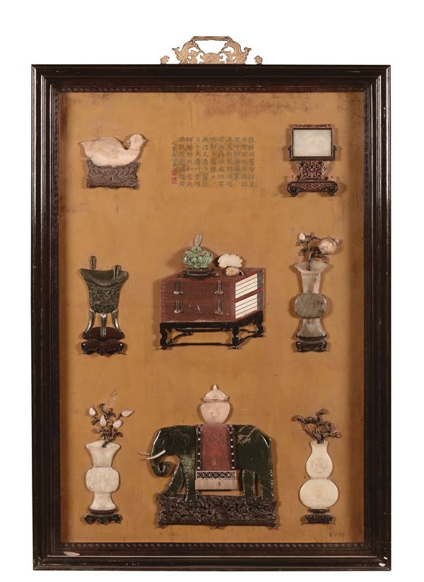 A pair of lacquered panels with vases and jade elephants inserts, China, Qing Dynasty, 19th century