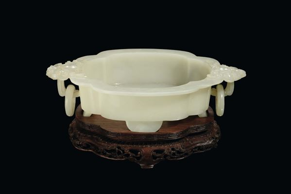 A small white Celadon jade lobed cup, China, Qing Dynasty, 19th century