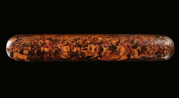 A lacquered box decorated with battle scenes, Asia Minor, 19th century