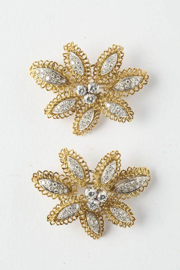 Pair of diamond and gold clips