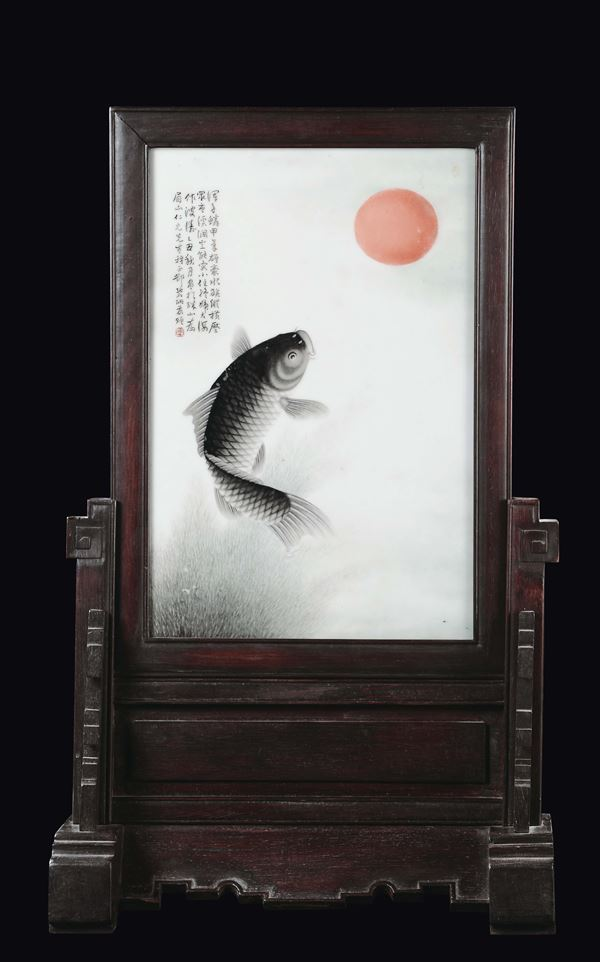 A great and unique porcelain plaque with carp, sun and inscription, China, Qing Dynasty, late nineteenth  [..]