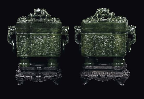 A great and rare pair of spinach jade tureen with Pho dog double handles with movable rings, covers  [..]
