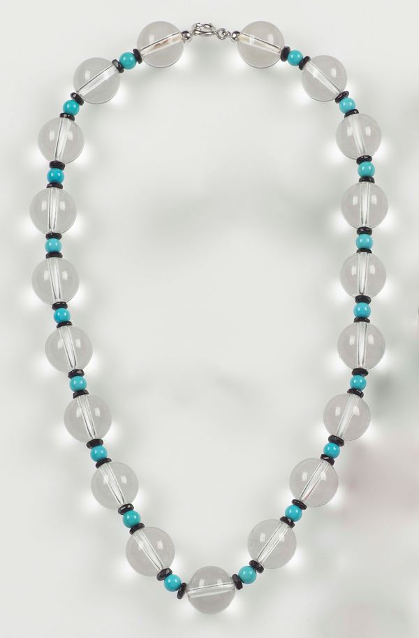 Rock crystal, onix and tourquoise necklace