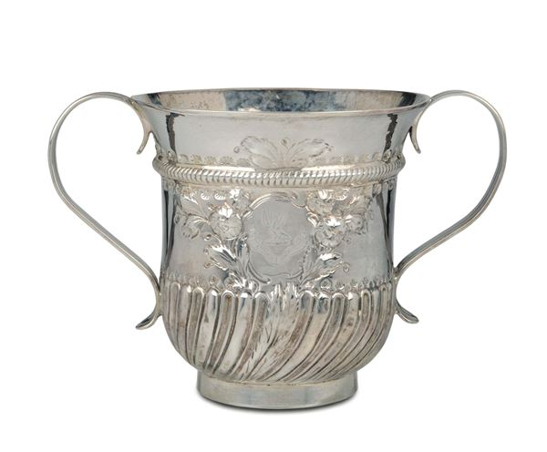 A molten, embossed and chiselled silver Porringer, silversmith Samuel Wood, London 1763