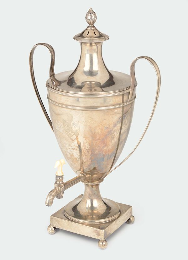 A molten, embossed and chiselled silver samovar, silversmith William Laver, London 1789
