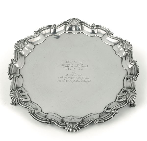An embossed silver salver, Sheffield 1927