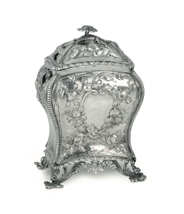 A molten, embossed and chiselled silver tea box, London 1767(?)