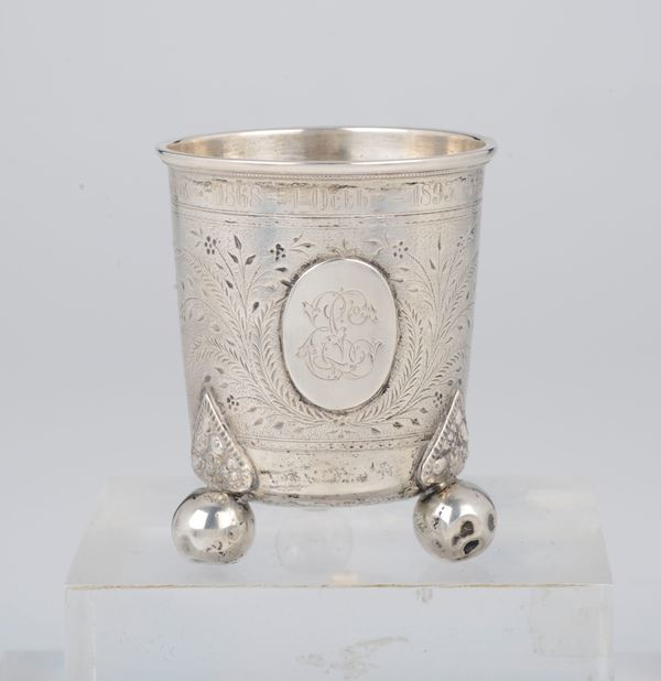 A chiselled silver glass, Norway 1893