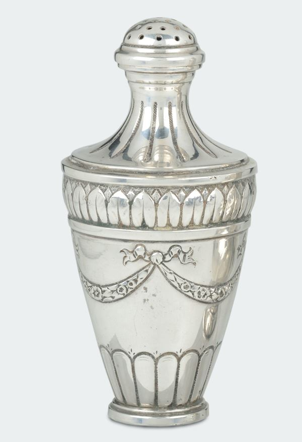 An embossed silver sugar spreader, pattern marks for the town of Werthem, Germany