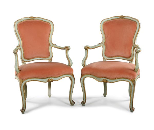 A pair of small Louis XV cabriolet armchairs, lacquer with light blue background, Venice, late 18th century