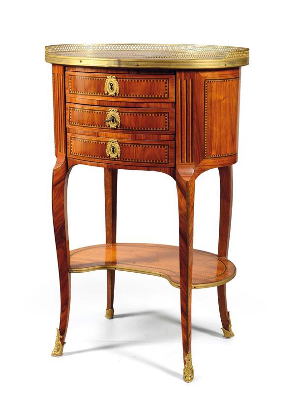 A small oval table with three drawers, Transition period, France, late 18th century