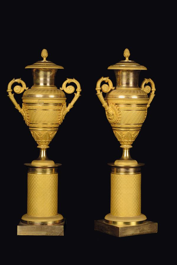 A pair of gilt bronze amphora cassolettes, Empire period, France, early 19th century