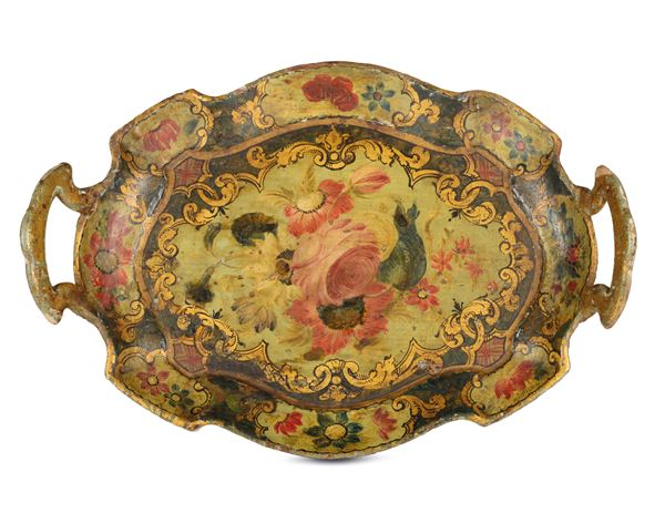 A small oval two-handled tray, Venice, mid-18th century