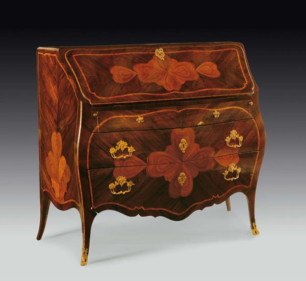 A Louis XV rosewood veneered with four-leaved clover and bois de rose threads bureau, Genoa, late 18th  [..]