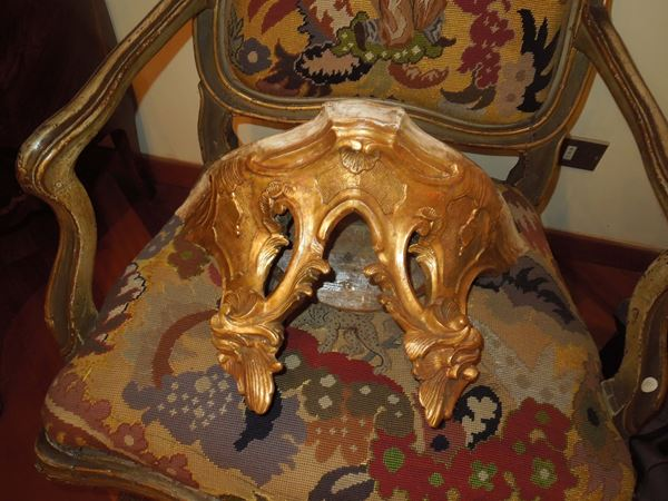 A pair of small carved and gilt wood shelves, Veneto, mid-18th century