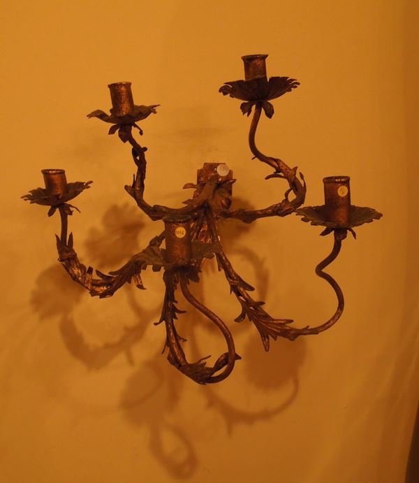 A pair of iron and gilt plate appliques with five lights, North Italy, mid-18th century