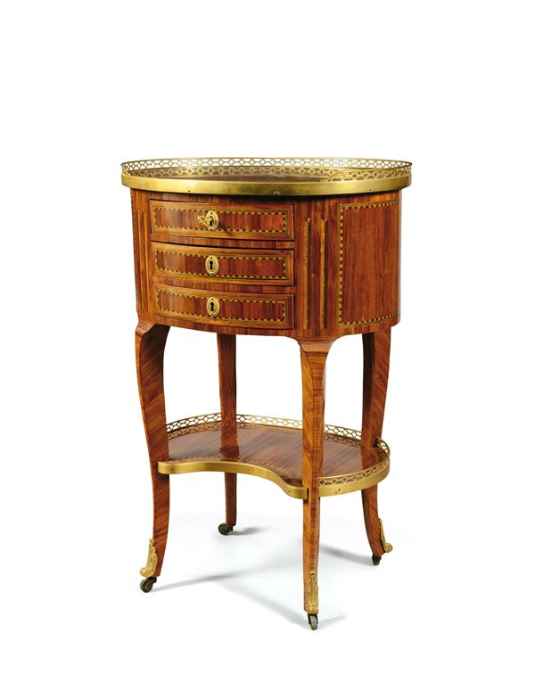 A small Louis XVI oval table veneer and threads in bois de rose and various partially coloured woods, France, late 18th century