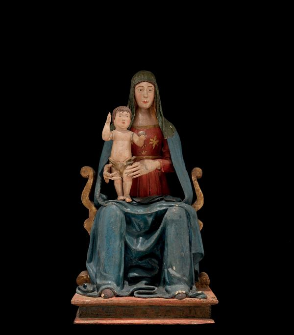 A polychrome wood and cloth Madonna with Child Sedes Sapientiae Group, artist working in central Italy between Marche and Abruzzo Regions, 16th century