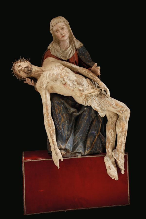 A polychrome wood Piety Group, Renaissance sculptor working in Veneto between the 15th and the 16th century