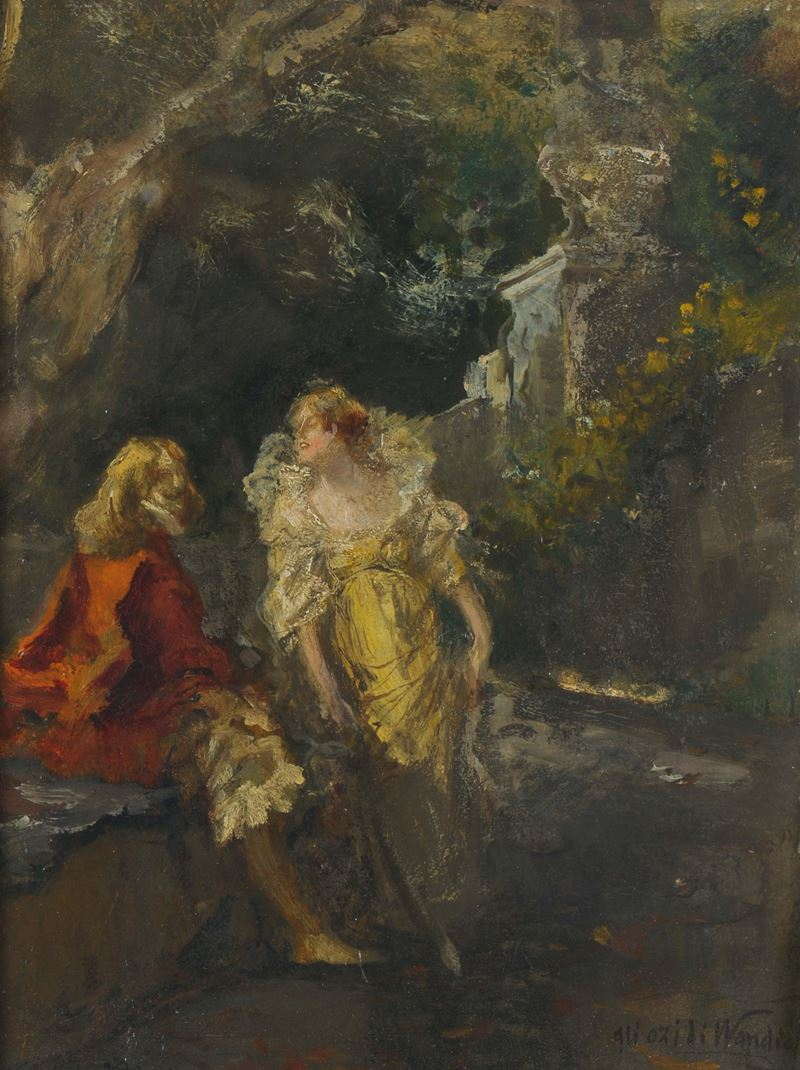 Pompeo Mariani (Monza 1857 - Bordighera 1927)<br>I capricci di Van Dyck  - Auction 19th and 20th century paintings - Cambi Casa d'Aste