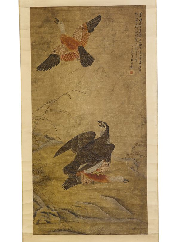 A painting on paper depicting ducks, one flying and one hunted by a hawk, and inscription, China, Ming Dynasty, 17th century