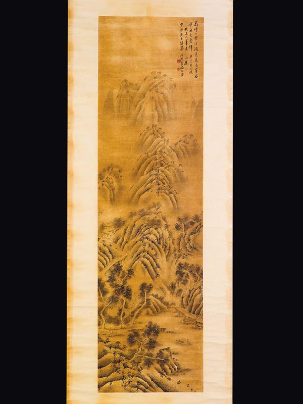 A painting on paper depicting mountain landscape crossed by a river with a small boat and inscription, China, Ming Dynasty, 17th century