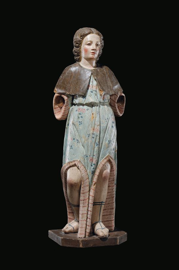 A polychrome wood Angel sculpture, central Italy, 17th century