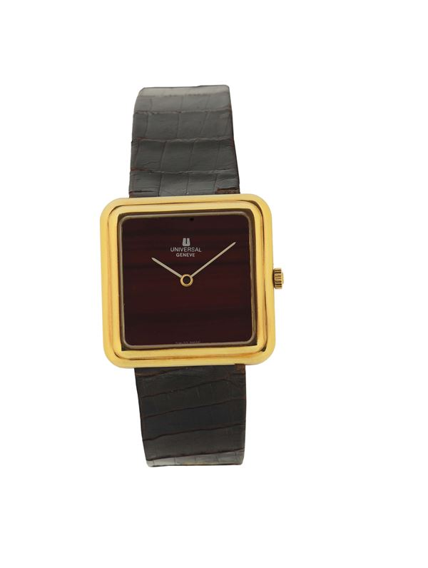 UNIVERSAL GENEVE, case No.1800.1, 18K yellow gold wristwatch with gold plated buckle. Made in the 1980's.